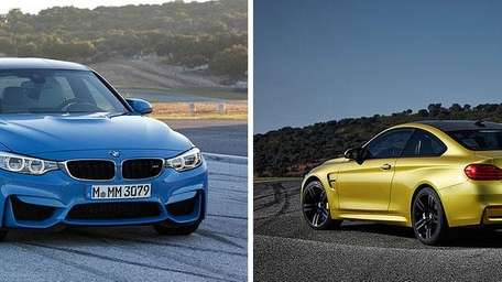 The 2015 BMW M3, left, and the M4,