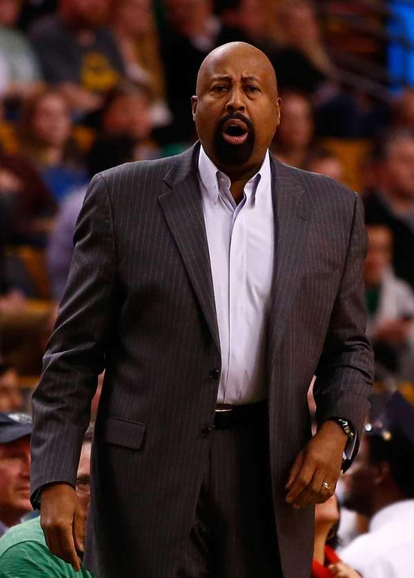Head coach Mike Woodson of the Knicks yells