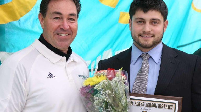 Brock Jackolski, left, stands with Athletic Director Mark