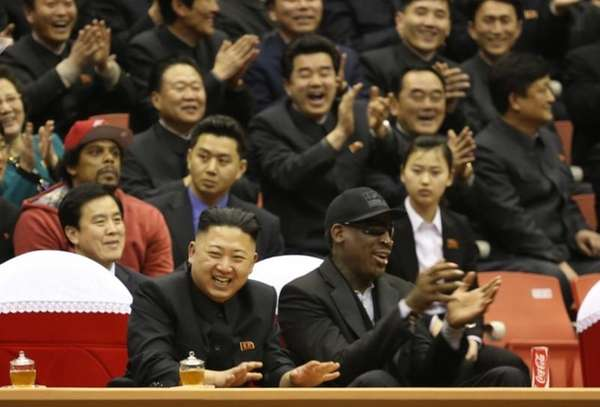 North Korean leader Kim Jong Un, left, and