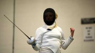 Oyster Bay fencer Grey Warwick-Clark competes in the