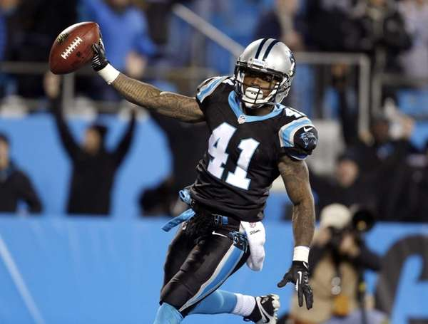 The Carolina Panthers' Captain Munnerlyn (41) celebrates his