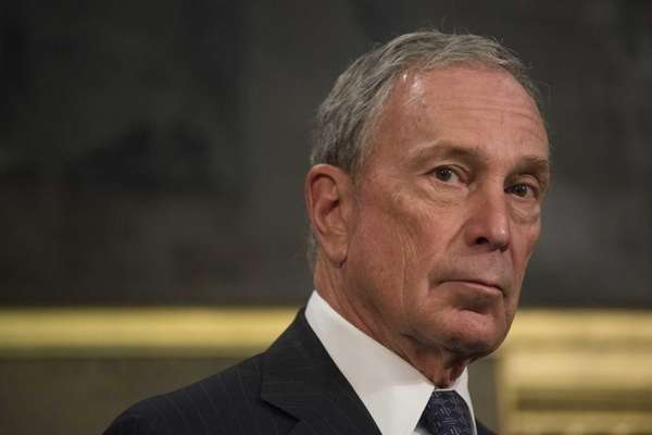 New York City Mayor Michael Bloomberg holds a
