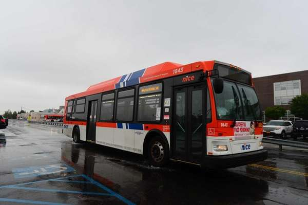 A NICE bus making its route through Nassau