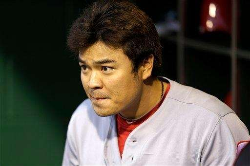Cincinnati Reds centerfielder Shin-Soo Choo sits in the