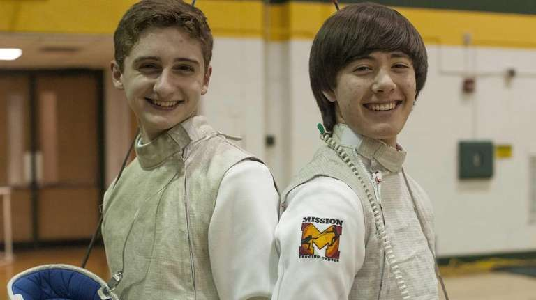 Ward Melville's Mike Antipas, left, and Devin Reina