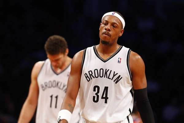 Paul Pierce and Brook Lopez of the Nets