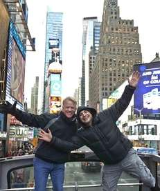 Radio hosts Boomer Esiason and Craig Carton, of
