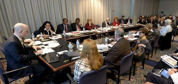 The Board of Regents listens to a presentation