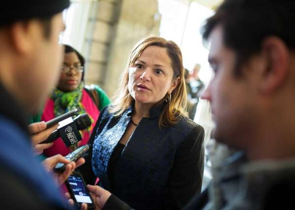 City Council member, Melissa Mark-Viverito speaking with reporters