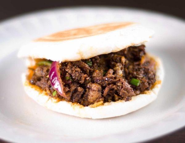 The spicy cumin lamb burger at X'ian Famous