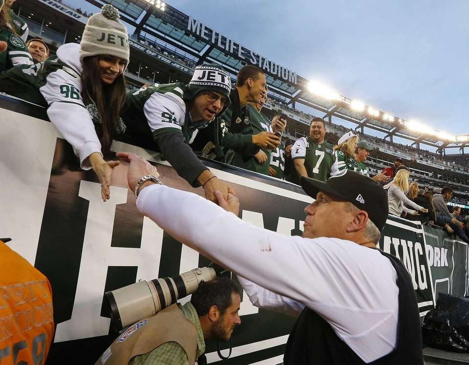 Rex Ryan greets fans after defeating the Cleveland