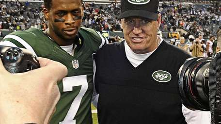 Geno Smith Rex Ryan pose for photos after