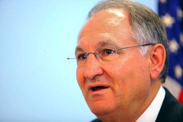 Nassau County Comptroller George Maragos is shown discussing