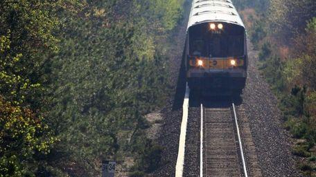 An eastbound Long Island Rail Road train travels