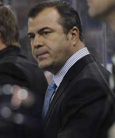 Alain Vigneault looks on during the second period