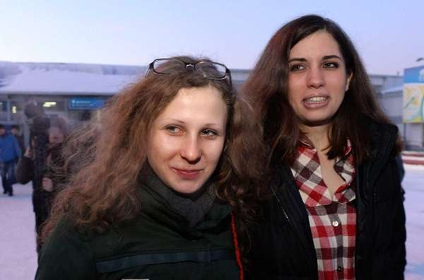 Two members of anti-Kremlin punk band Pussy Riot,