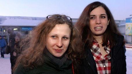 Two members of anti-Kremlin punk band Pussy Riot,