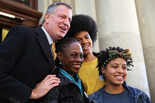 New York mayoral elect Bill de Blasio poses
