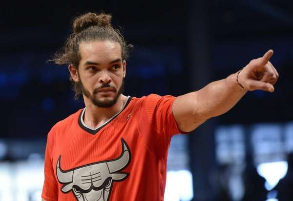 Joakim Noah of the Chicago Bulls points towards