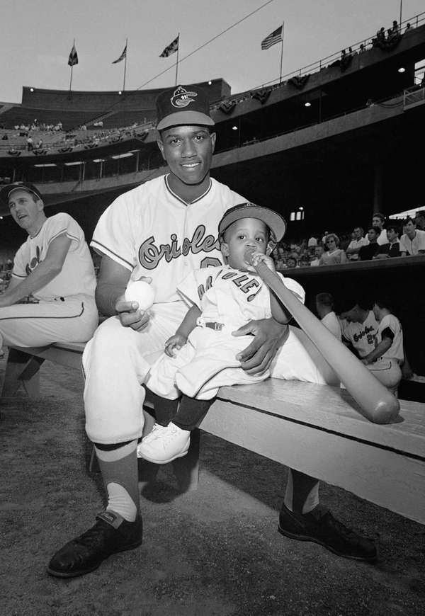 Baltimore Orioles outfielder Paul Blair sits on a