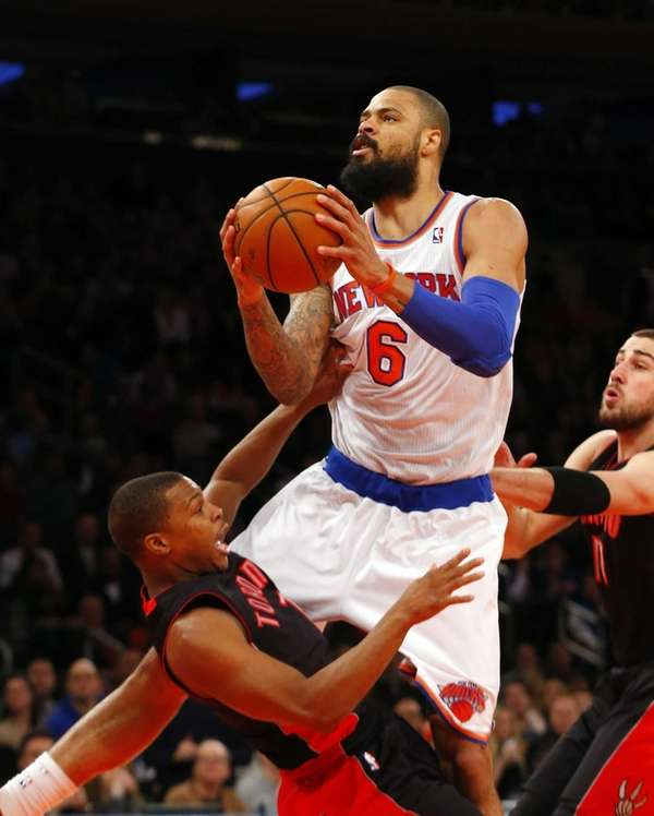 Tyson Chandler of the Knicks is called for