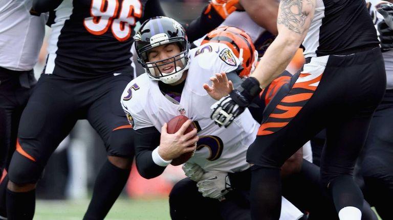 Joe Flacco #5 of the Baltimore Ravens is