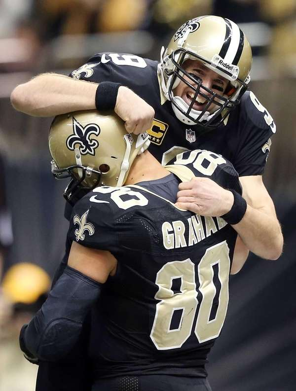 New Orleans Saints quarterback Drew Brees celebrates with