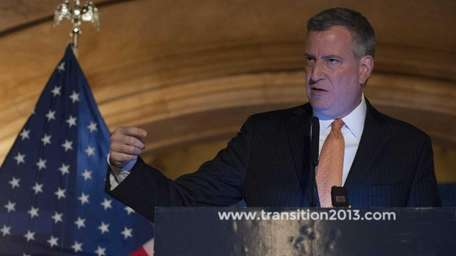 NYC Mayor-elect Bill de Blasio hosts a news