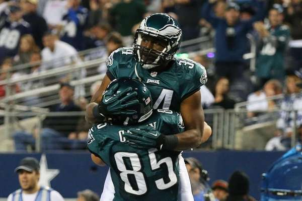 The Philadelphia Eagles' Bryce Brown #34 celebrates his