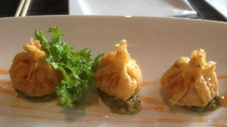Spicy tuna dumplings are served at Kaji in