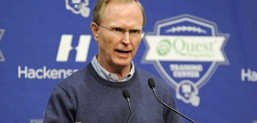 Giants owner John Mara speaks to the media