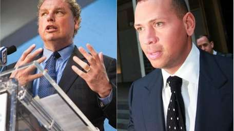 A composite showing Yankees president Randy Levine, left,
