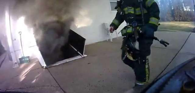 Firefighter John Senia captured video with a camera
