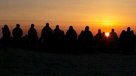 A religious service at sunrise at Jones Beach
