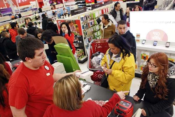 Customers at a Target store opening before Black