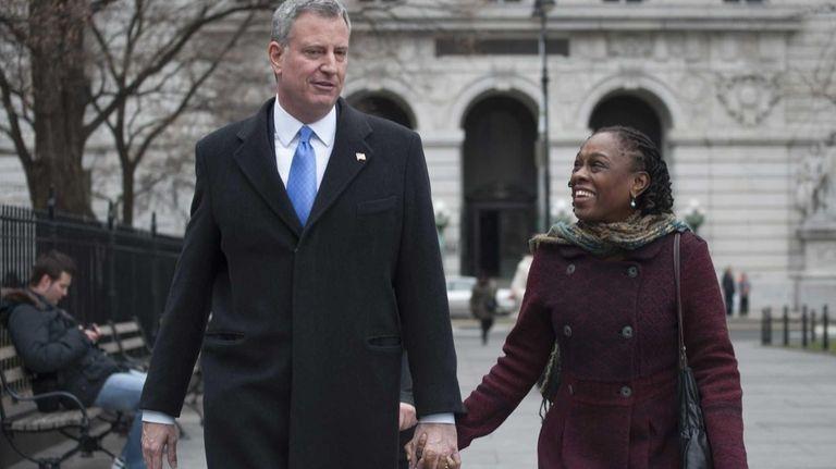 Mayor-elect Bill de Blasio and his wife Chirlane