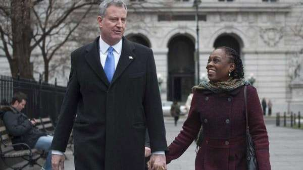 Mayor-elect Bill de Blasio and his wife Chirlane