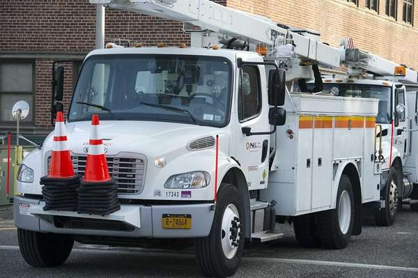 PSEG-Long Island trucks in Hicksville on Jan. 1,