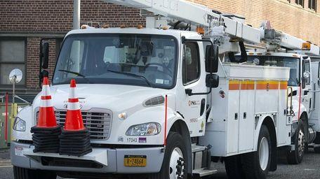 PSEG-Long Island trucks in Hicksville on Jan. 1,