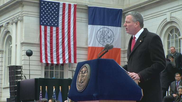 Mayor Bill de Blasio speaks at his inauguration