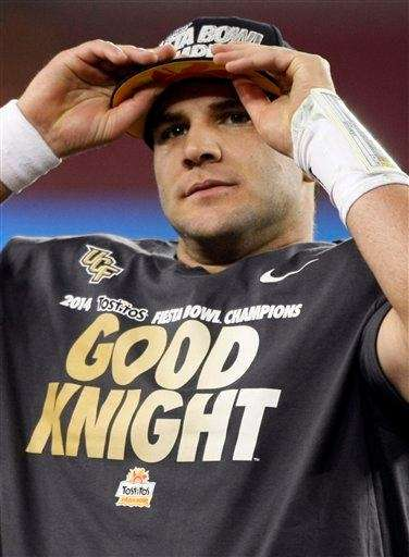 Central Florida quarterback Blake Bortles puts on his