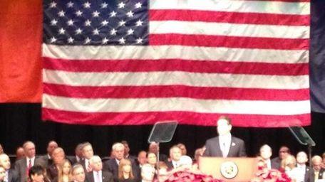 New York Gov. Andrew Cuomo speaks at Bethpage