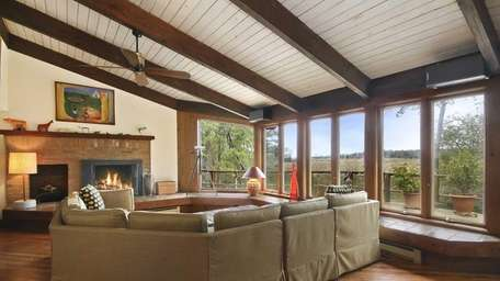 The living room in this East Hampton estate,