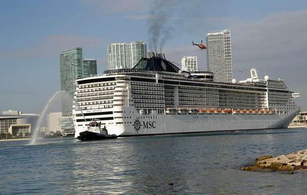 The MSC Divina cruise ship arrives at the