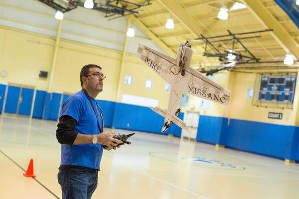 Mike Missano, 40, of Islip, pilots his remote-controlled