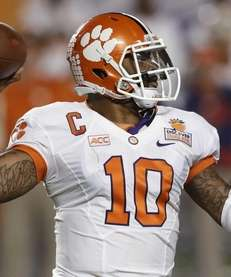 Clemson quarterback Tajh Boyd stands back to pass