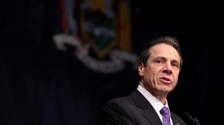 New York Gov. Andrew Cuomo speaks before Nassau