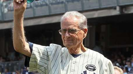 Jerry Coleman is introduced during the Yankees 64th