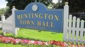 A sign outside Huntington Town Hall is seen